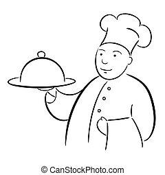 séf, szakács, kézírás, tálca, rajz