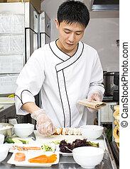 séf, tányér, sushi, japán