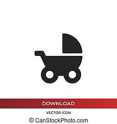 sétáló, vektor, csecsemő, ikon