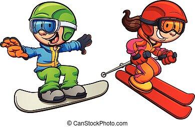 síelés, gyerekek, snowboarding