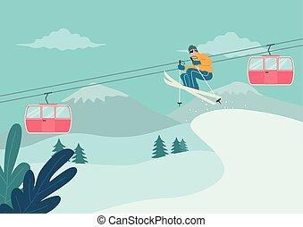 síelés, havas, ember, hegy