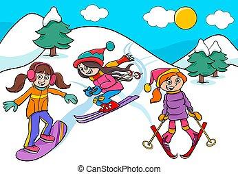 síelés, lány, ábra, snowboarding, karikatúra