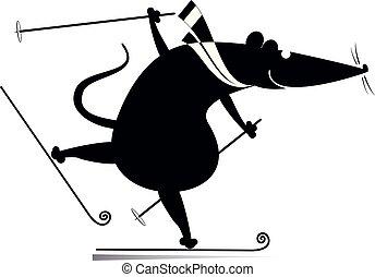síelő, karikatúra, patkány, vagy, ábra, egér