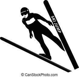 síelő, vektor, illustration., ugrás, silhouette.