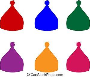 síel, sport, tél, vektor, accessory., ábra, szín, sapka, kalap, snowboarding, állhatatos, kötött, mód