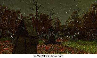 sírkő, esős, öreg, ősz, 4k, éjszaka