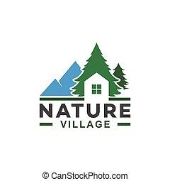 sóvárog, épület, falu, természet, fa, hegy