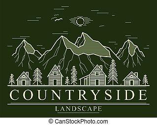 sóvárog, utazás, hegy, vadon, vidéki táj, nyaralók, fahasáb, erdő, egyenes, épület, maradék, vidéki, lőtávolság, bitófák, embléma, lineáris, rajz, sötét, művészet, vektor, erdő, fából való, logo., falu, faház