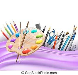 söpör, hullámos, paletta, művészet, háttér elpirul, pens., megvonalaz, vektor, rudacska