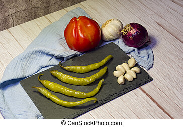 sör, peppers, garlic., spanyol, chili, paradicsom, tapa