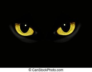 sötét, éjszaka, macska, szemek