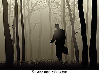 sötét, üzletember, erdő