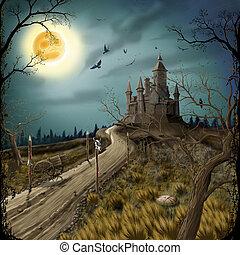 sötét, bástya, éjszaka, hold