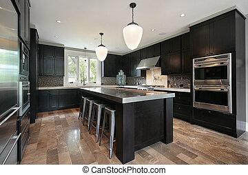 sötét, erdő, cabinetry, konyha