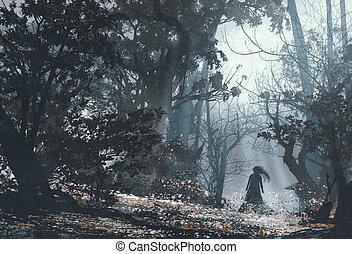 sötét, erdő, titokzatos