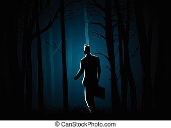 sötét, gyalogló, erdő