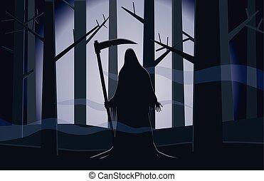 sötét, halál, erdő, vektor