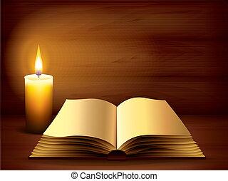 sötét, könyv, ősi, kinyitott, gyertya