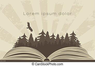 sötét, könyv, nyílik, erdő