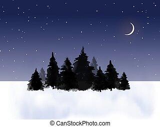 sötét, tinta, növekedni, háttér, csillaggal díszít, tél, mező, éjszaka, festmény, moon., ég, sumi-e, sóvárog, hagyományos, keleti, u-sin, go-hua., bitófák