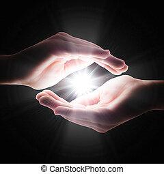sötétség, kéz, kereszt, fény