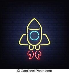 sötétség, rakéta, neon, gyakorlatias, izzó, vektor
