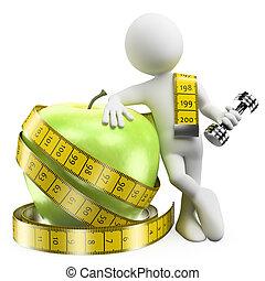 súly, élelmiszer, sport, késik, emberek., egészséges, 3, fehér