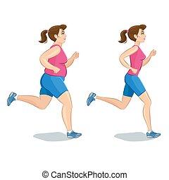 súly, előbb, sportszerű, training., vektor, nő, után, kocogás, illustration., kár, cardio