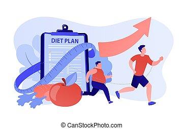 súly, illustration., kár, fogalom, vektor, diéta
