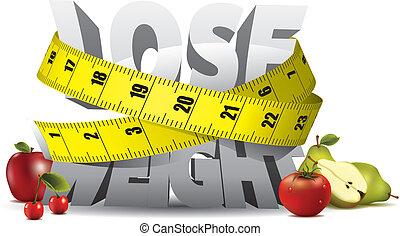 súly, késik, szöveg, felbecsül, szalag, gyümölcs