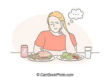 súly, vegan, kár, vagy, gyorsan elkészíthető étel, diéta, válogatott, fogalom