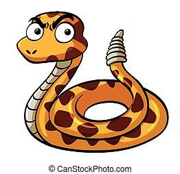 súlyos, arc, csörgőkígyó
