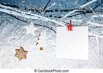 süti, elágazik, köszönés, csupasz, üres, függő, gyömbéres mézeskalács, karácsonyi üdvözlőlap
