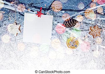 süti, elágazik, köszönés, csupasz, kártya, dekoráció, gyömbéres mézeskalács, karácsony, üres
