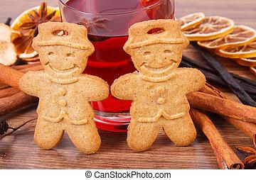 süti, forralt, vagy, pohár, gyömbéres mézeskalács, fűszeráruk, karácsony, bor