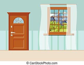 sűrű ajtó, fából való, ablak, belépés