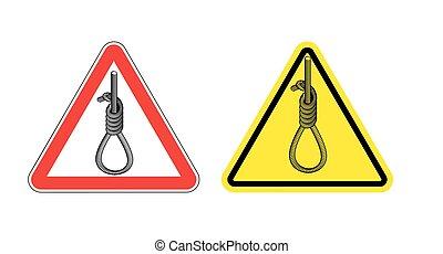 sűrű, hanging.., sárga, halál, cégtábla, hangmans, veszély, út, hangman., penalty., aláír, figyelmeztetés, kockázat, piros, figyelem, triangle., odaköt, bukfenc, hurok, hanging.