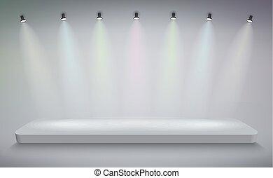 sablon, üres, pódium, mockup., bemutatás, fokozat, vektor, termék, talapzat, tiszta, fehér