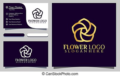 sablon, arany-, lotus virág, jel, ábra, kártya, vektor, ügy, szüret, tervezés