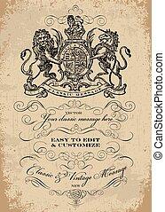 sablon, dísztárgyak, viktoriánus, vektor, címer