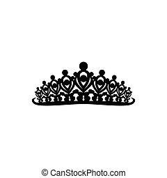 sablon, fejedelmek, királyi, fehér, ihlet, jel, illustration., háttér, ideas., tiara, diadém, design., elszigetelt, fejtető, vagy, vektor