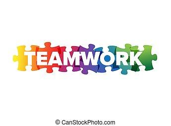 sablon, felirat, csapatmunka, fejtörő munkadarab, elkészített