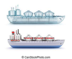 sablon hajó, drót, tartálykocsi, olaj