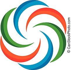 sablon, jel, szélmalom, eps, színes, design., vektor, 10., ábra