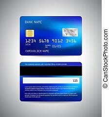 sablon, kártya, hitel, lejtő, hát, card., elülső, vektor