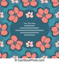 sablon, kéz, részvény, menstruáció, piros, vektor, illustration., rózsaszínű, kék, húzott, alma, kártya, -, keret