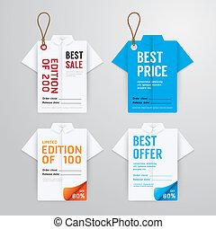 sablon, szalagcímek, címke, újság kártya, kiárusítás, ing, origami, vektor, ár, collection.