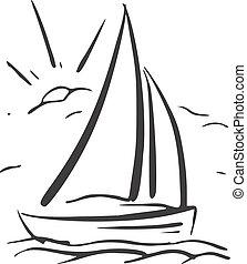 sailboat., eps8, kéz, vektor, háttér, húzott