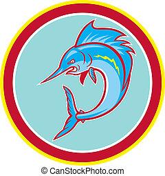 sailfish, fish, ugrás, karika, karikatúra