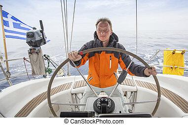 sailing., vitorlázás jacht, fiatal, skipper., yachts., sea., ember, fényűzés